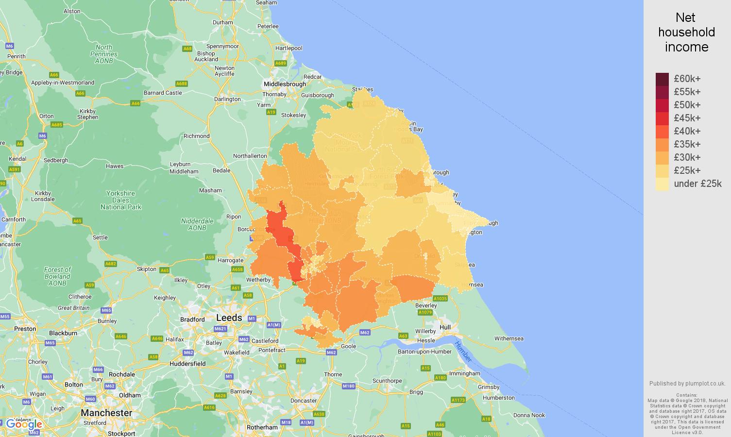 York net household income map