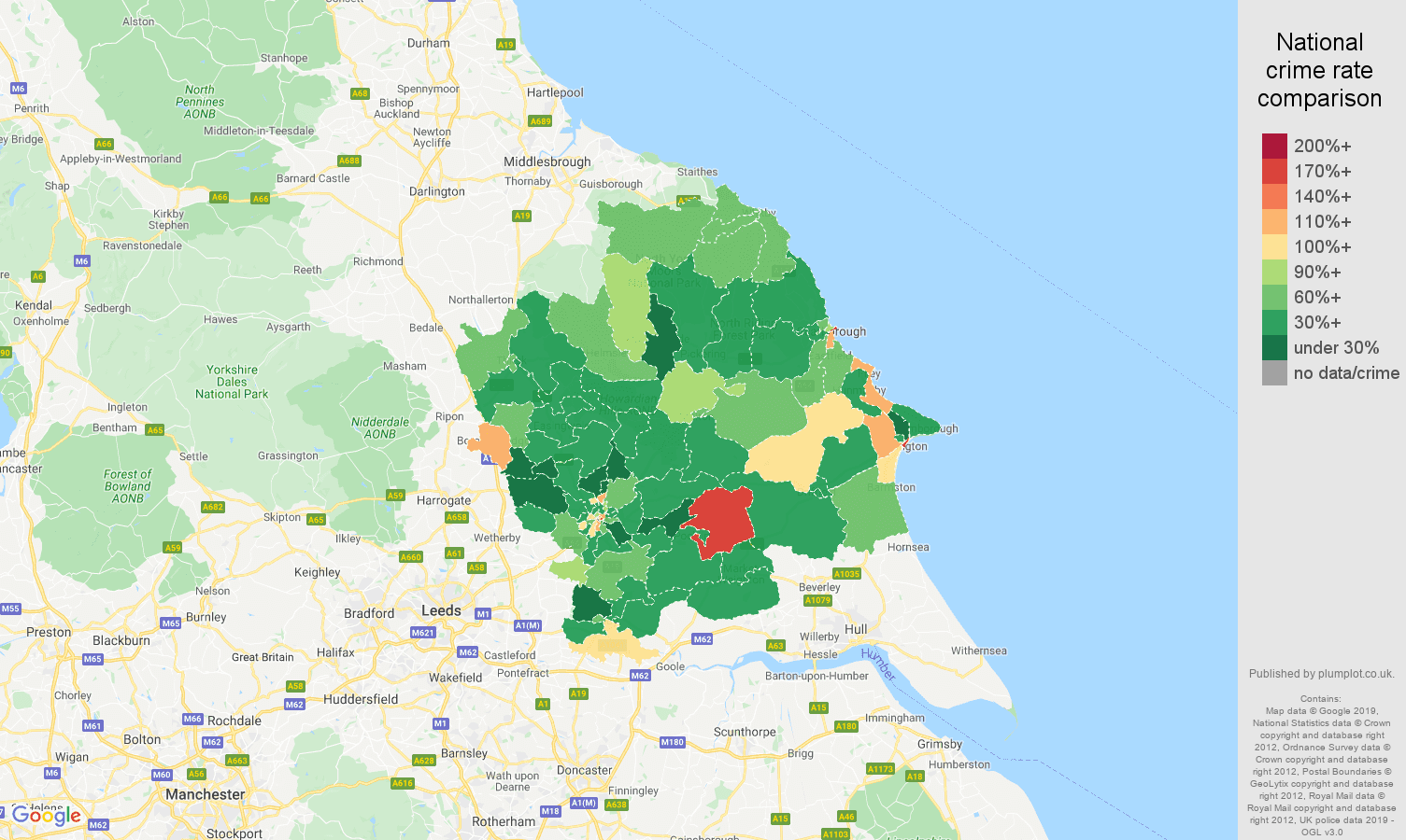 York other theft crime rate comparison map