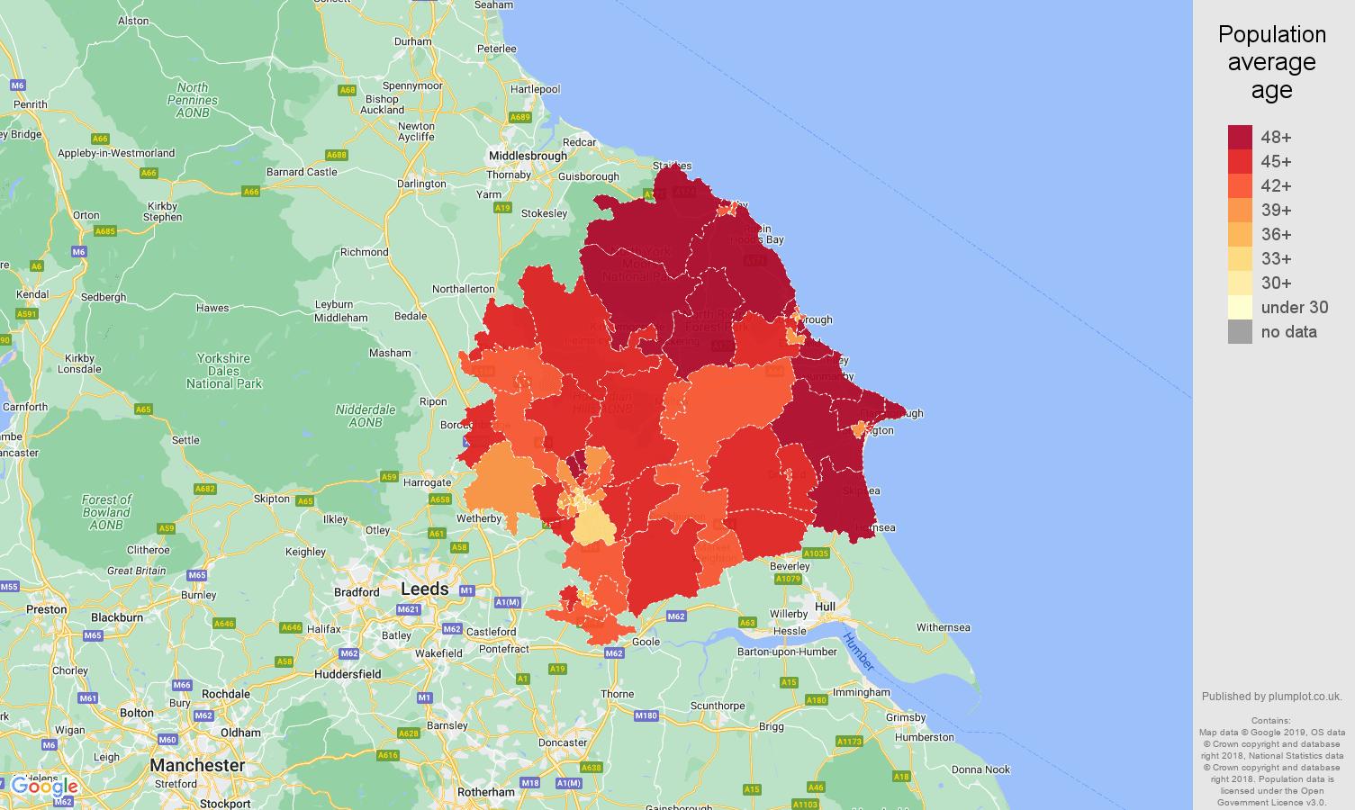 York population average age map