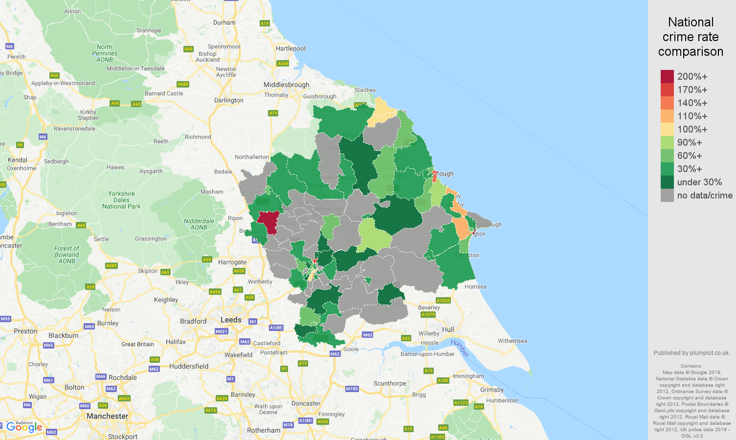 York possession of weapons crime rate comparison map