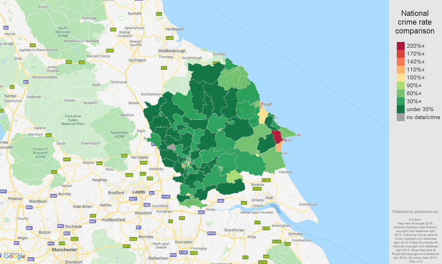 York public order crime rate comparison map