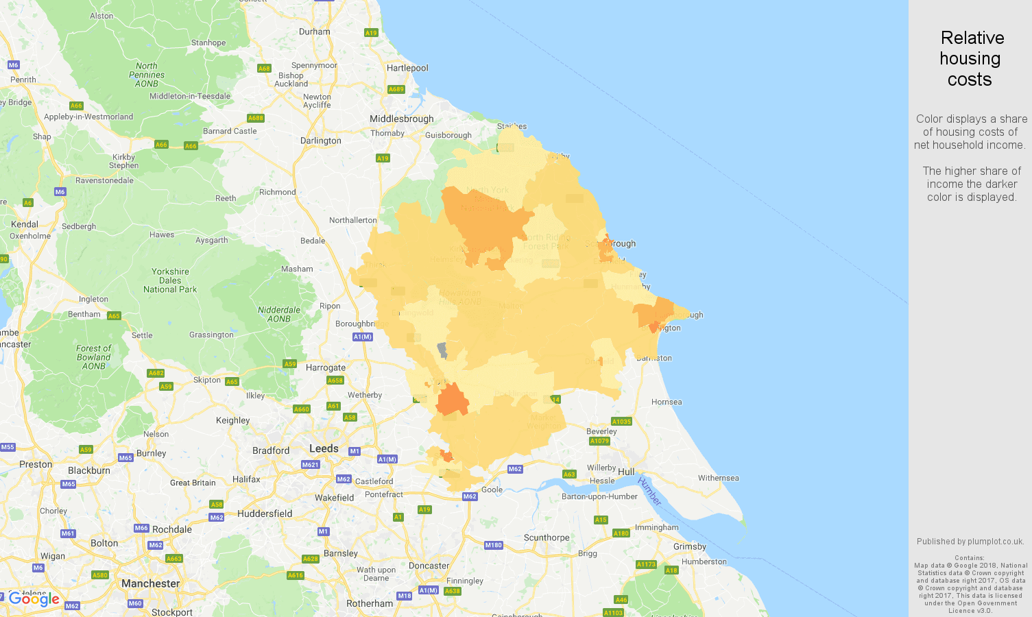 York relative housing costs map