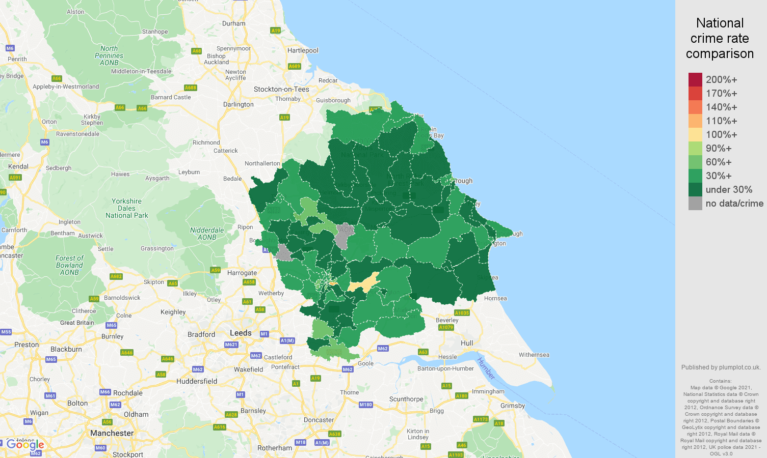 York vehicle crime rate comparison map
