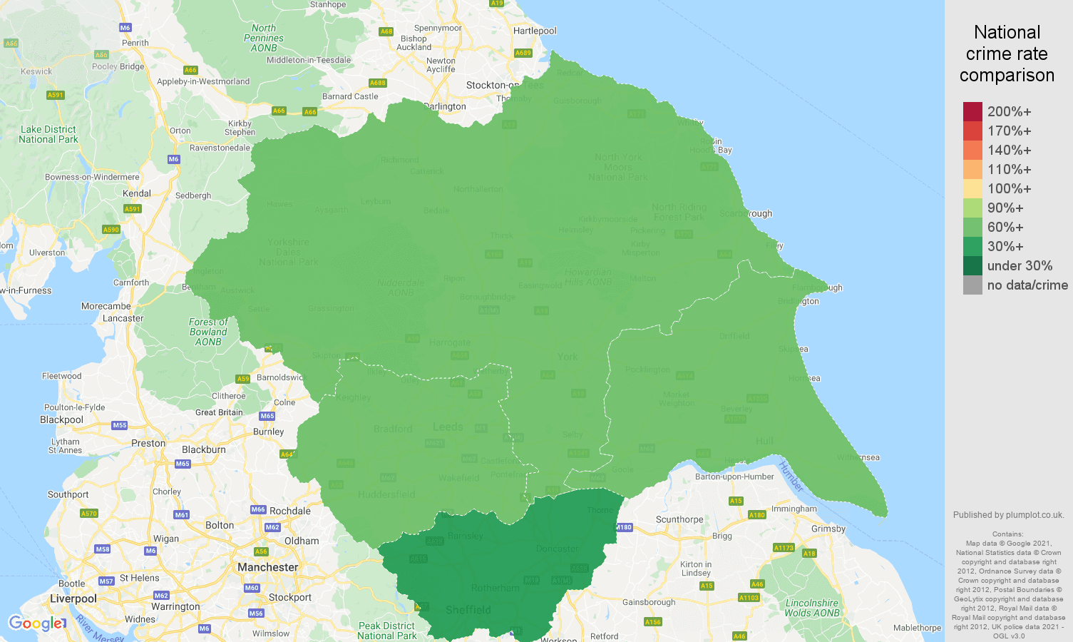 Yorkshire bicycle theft crime rate comparison map