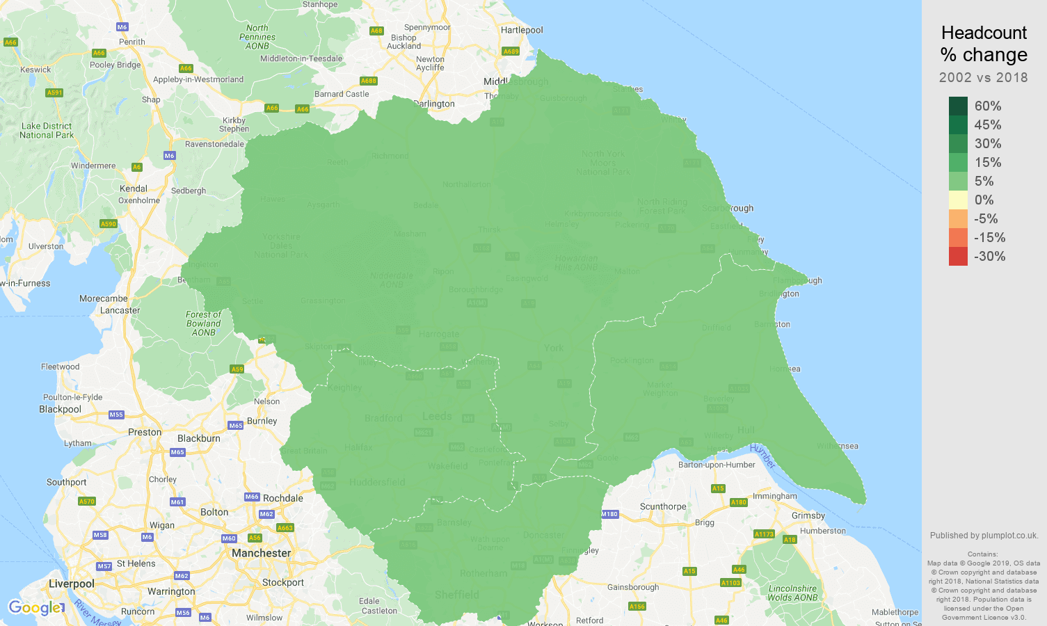 Yorkshire headcount change map