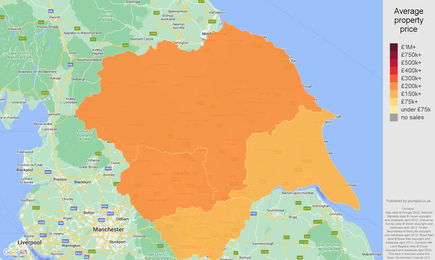 Yorkshire house prices map