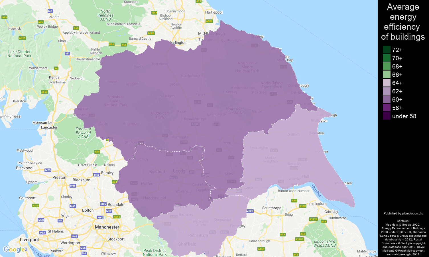 Yorkshire map of energy efficiency of houses