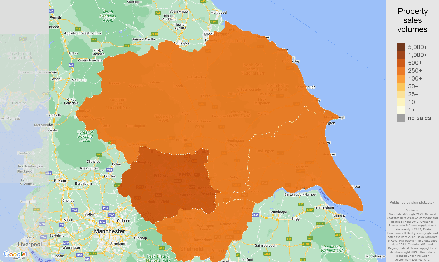 Yorkshire map of sales of new properties