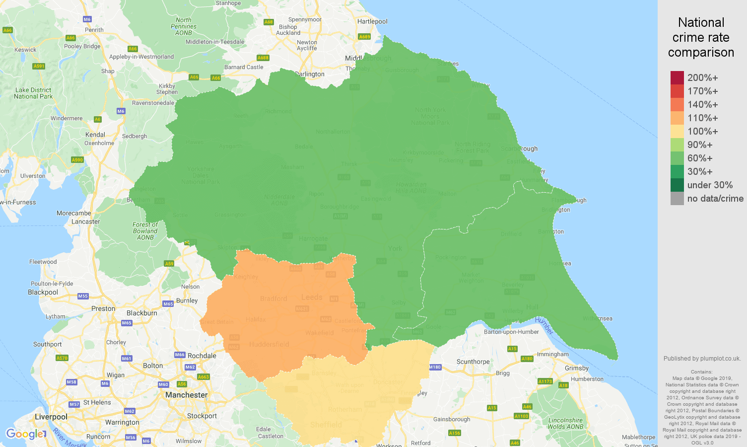 Yorkshire other theft crime rate comparison map