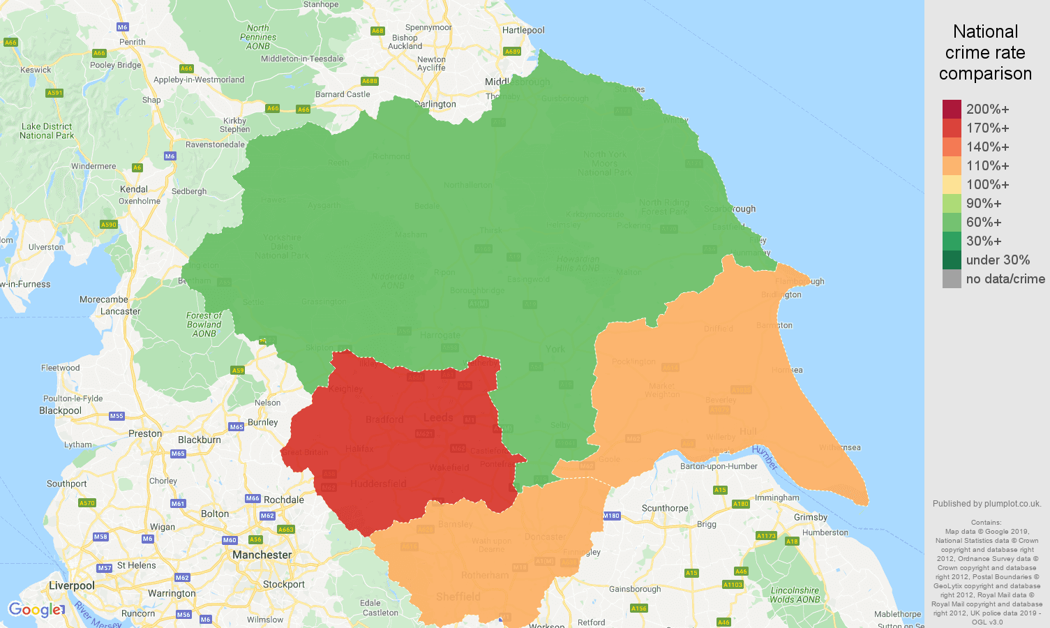 Yorkshire public order crime rate comparison map