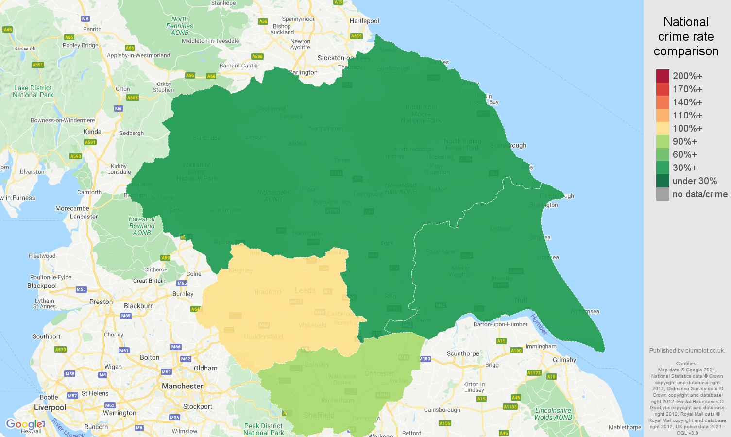 Yorkshire robbery crime rate comparison map
