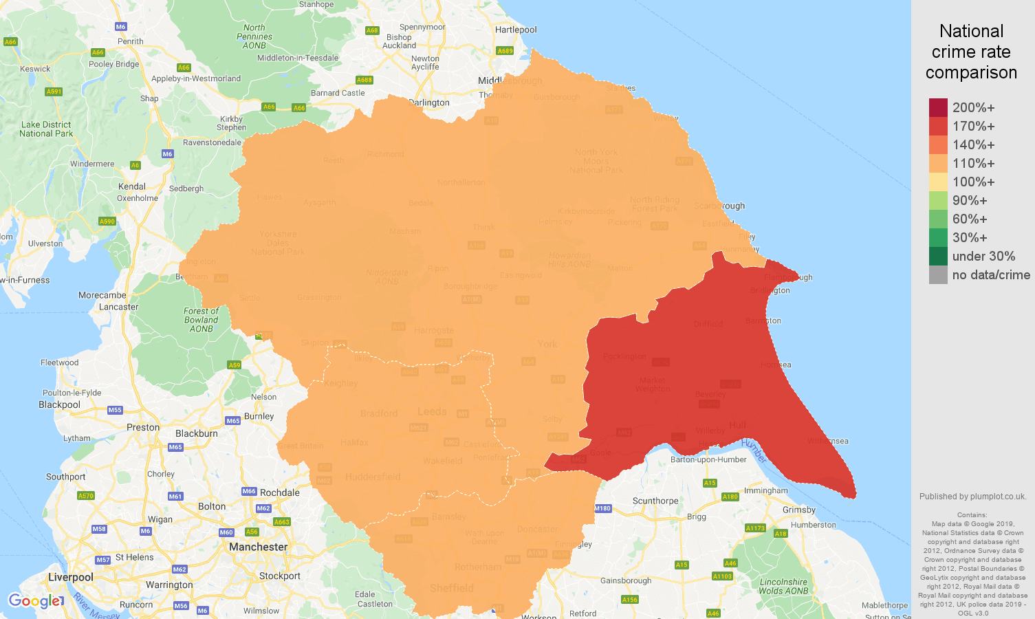 Yorkshire shoplifting crime rate comparison map