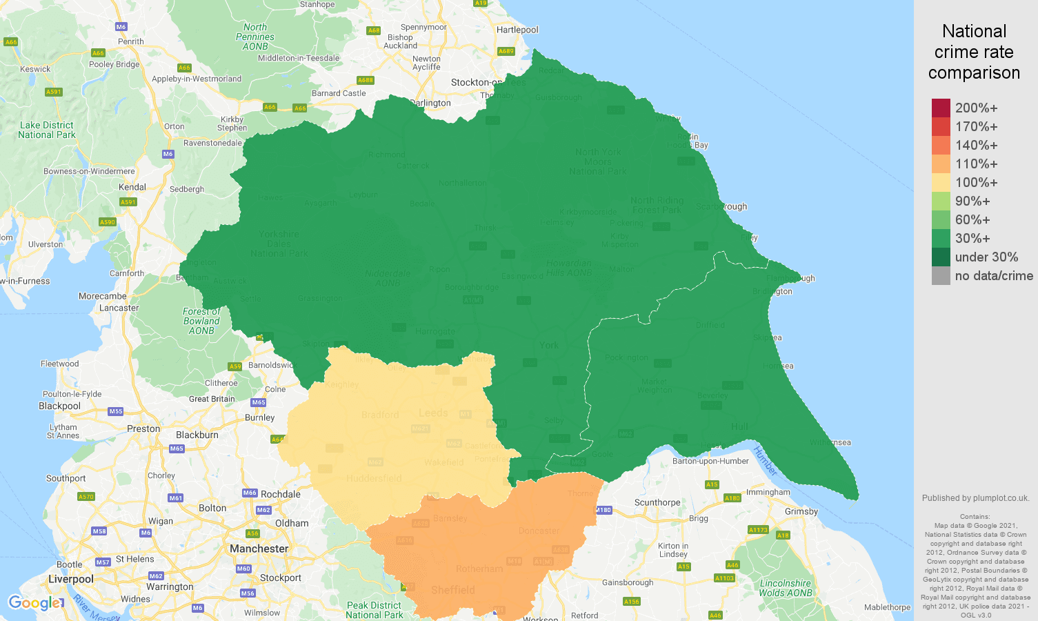 Yorkshire vehicle crime rate comparison map