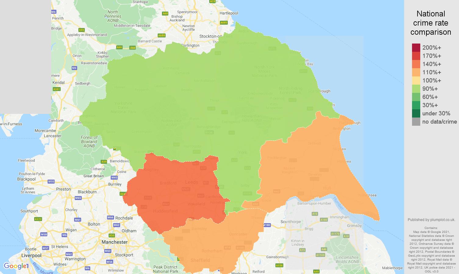 Yorkshire violent crime rate comparison map