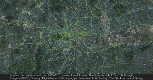 London car crashes heat map