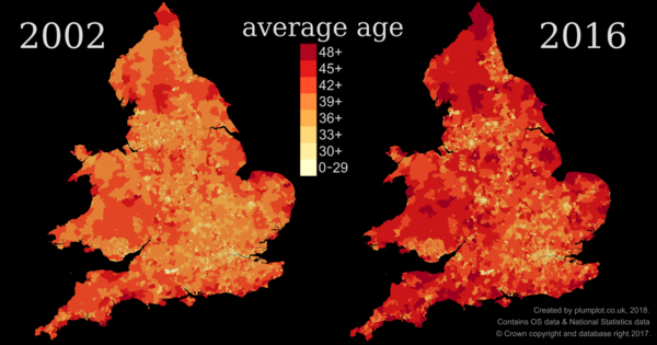 The oldest and youngest areas of England