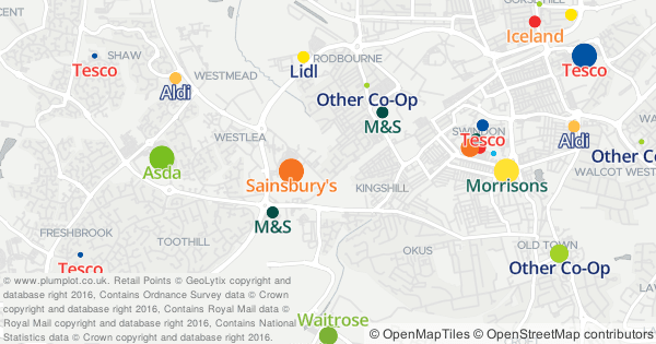 Interactive map of UK supermarkets by brand and band size