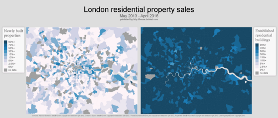 London mapped by newly built properties and established residential properties