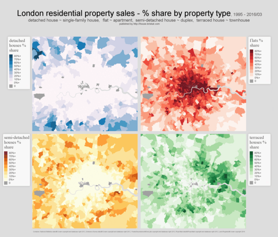 London mapped by residential property type