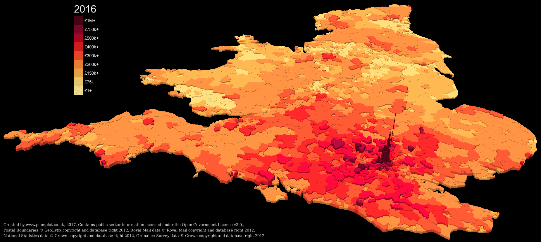Uk average property price 3D map by postcode district.