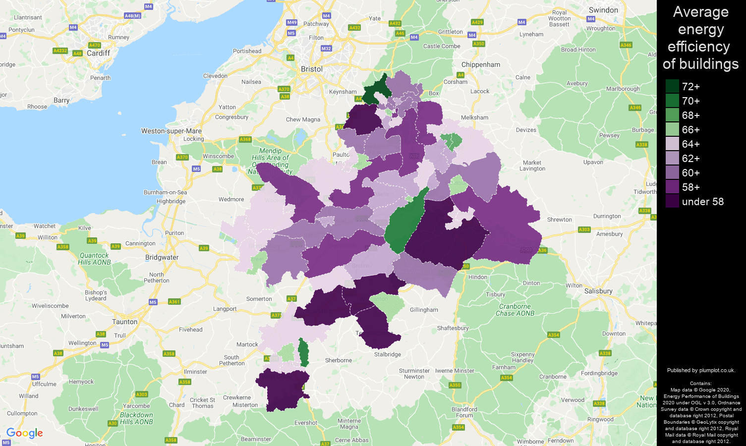 Bath map of energy efficiency of properties