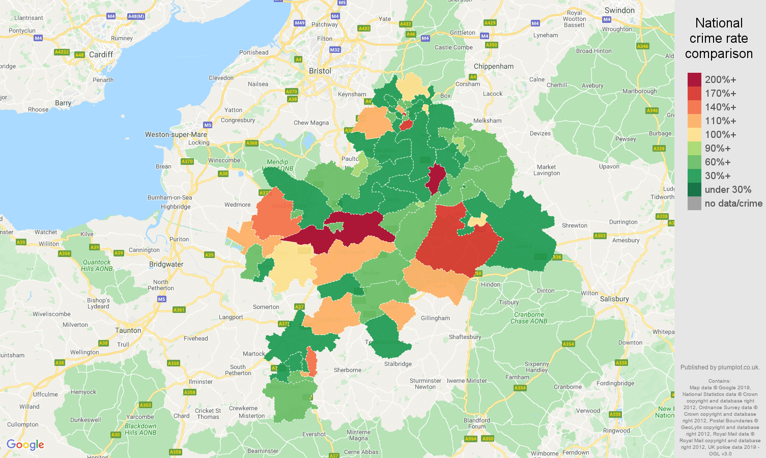 Bath other theft crime rate comparison map