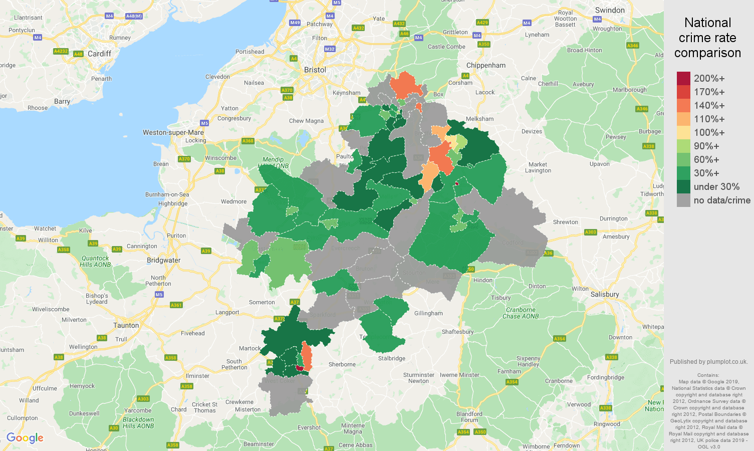 Bath possession of weapons crime rate comparison map