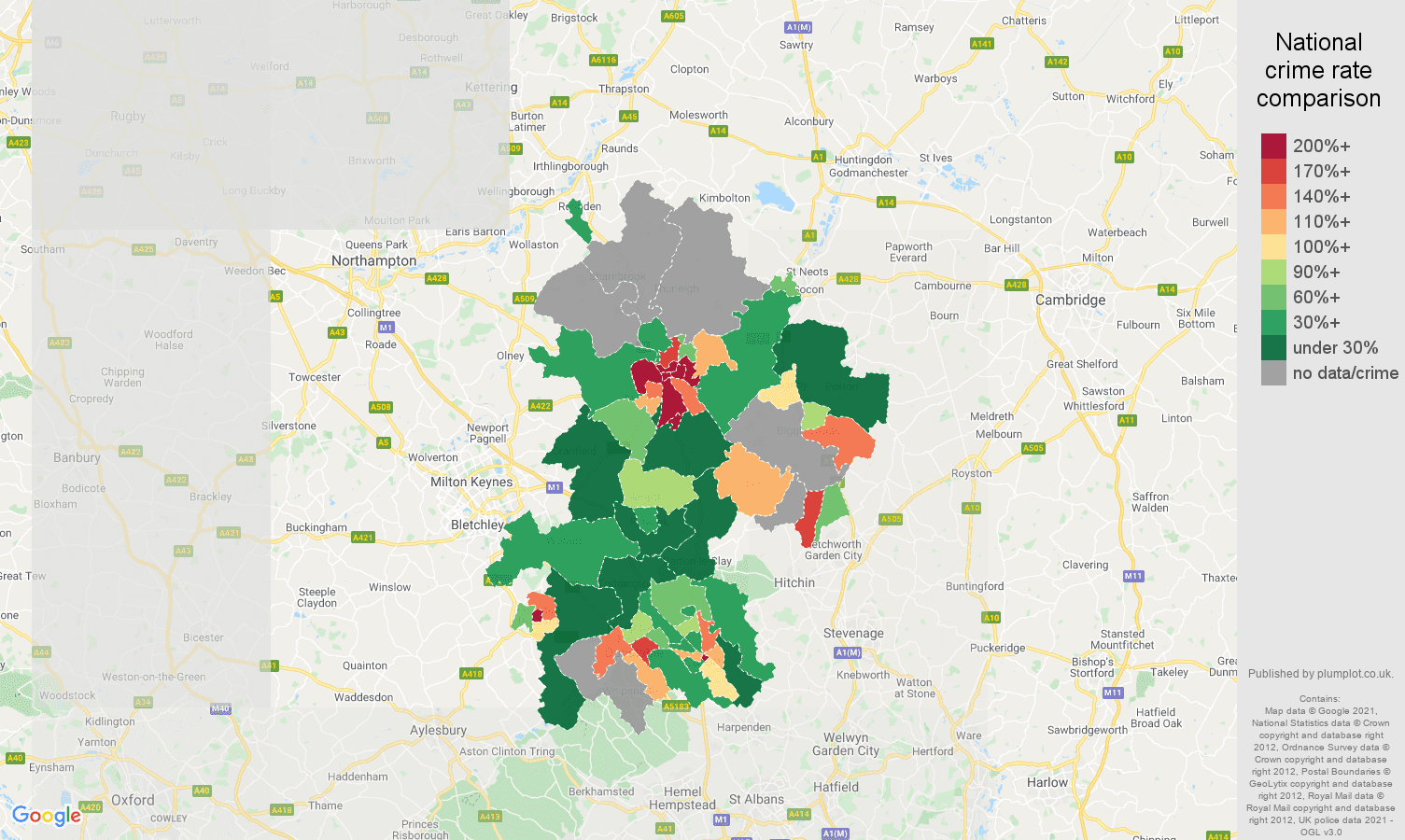 Bedfordshire bicycle theft crime rate comparison map