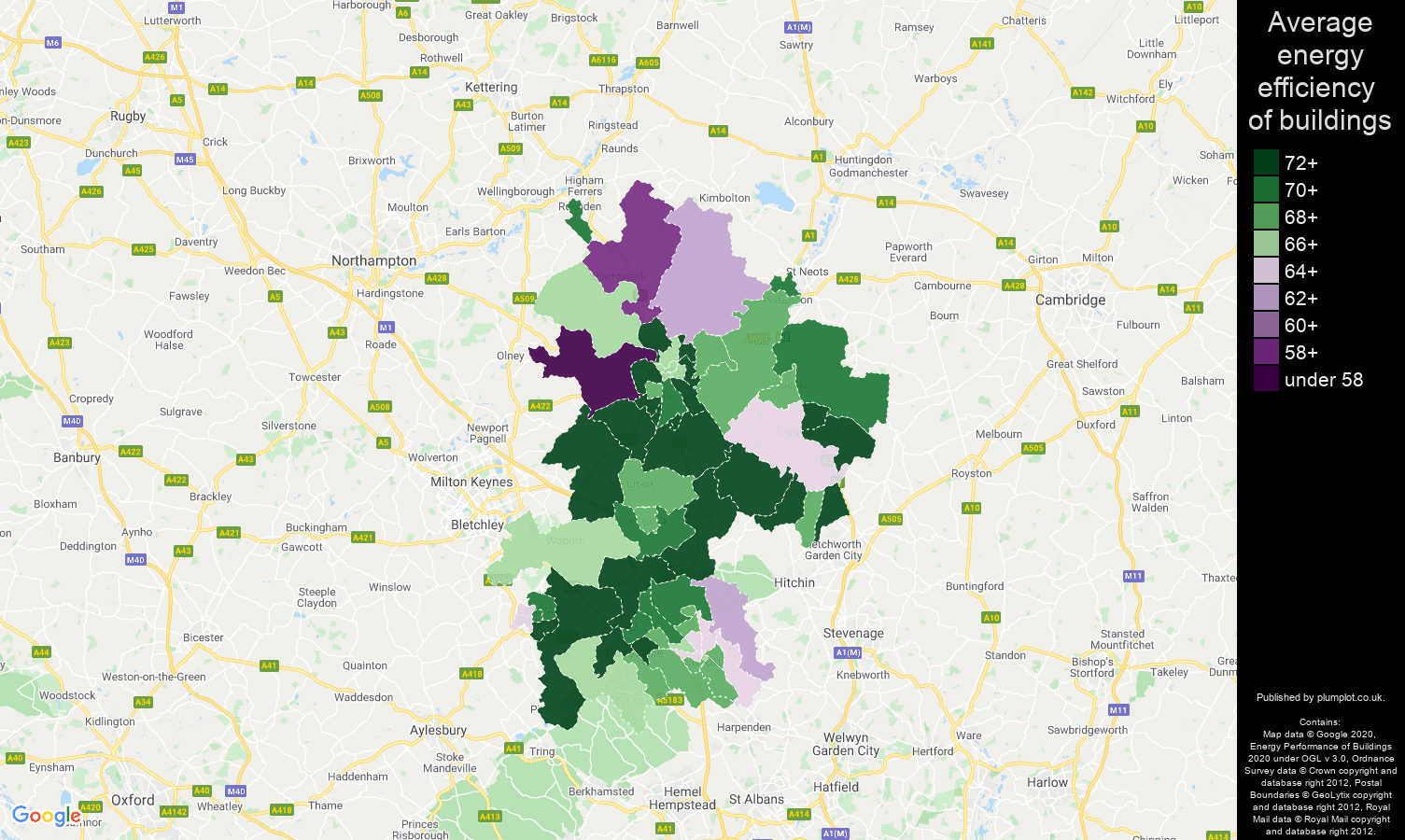 Bedfordshire map of energy efficiency of flats