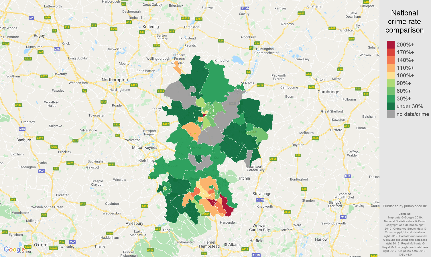 Bedfordshire possession of weapons crime rate comparison map