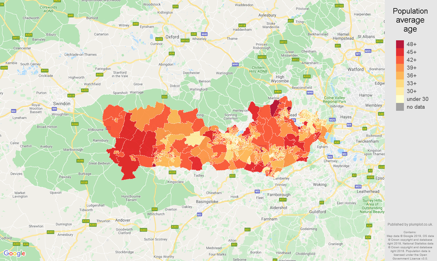 Berkshire population average age map