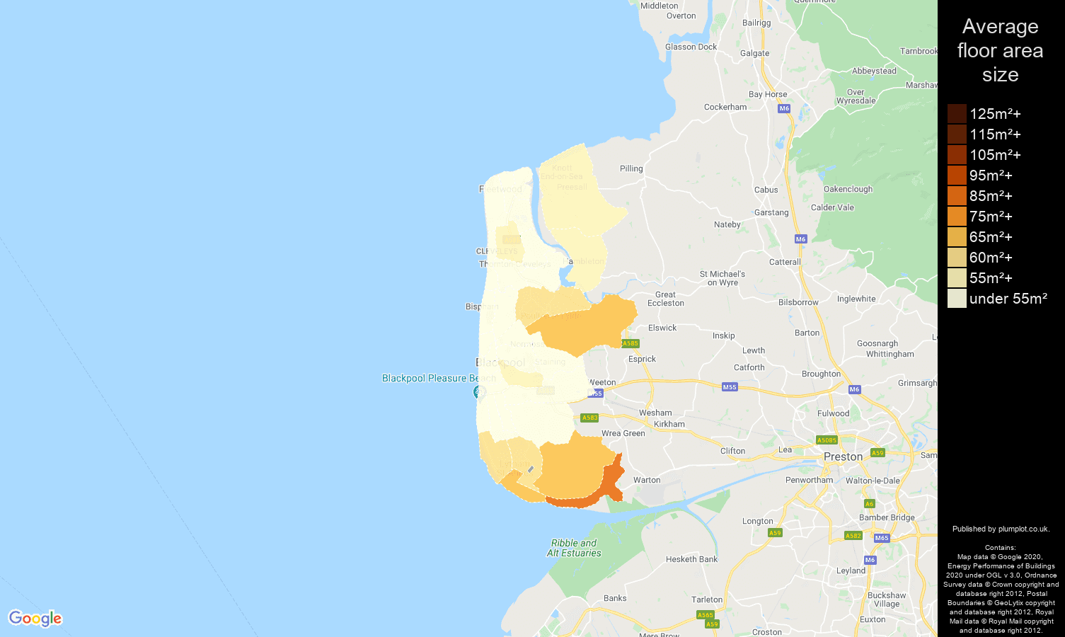 Blackpool map of average floor area size of flats