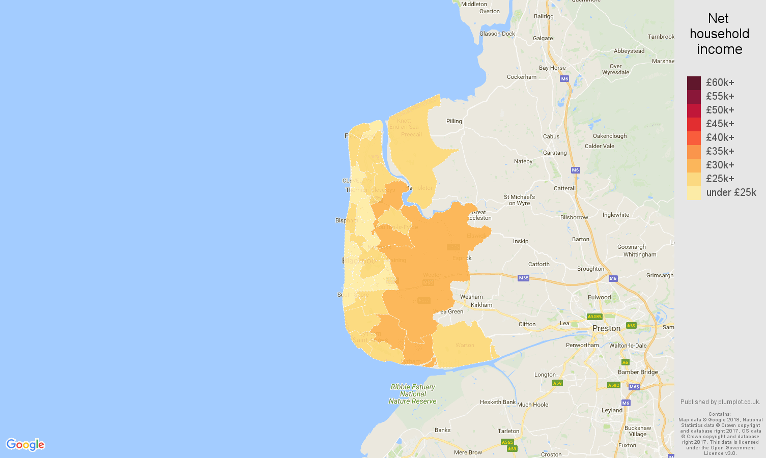 Blackpool net household income map