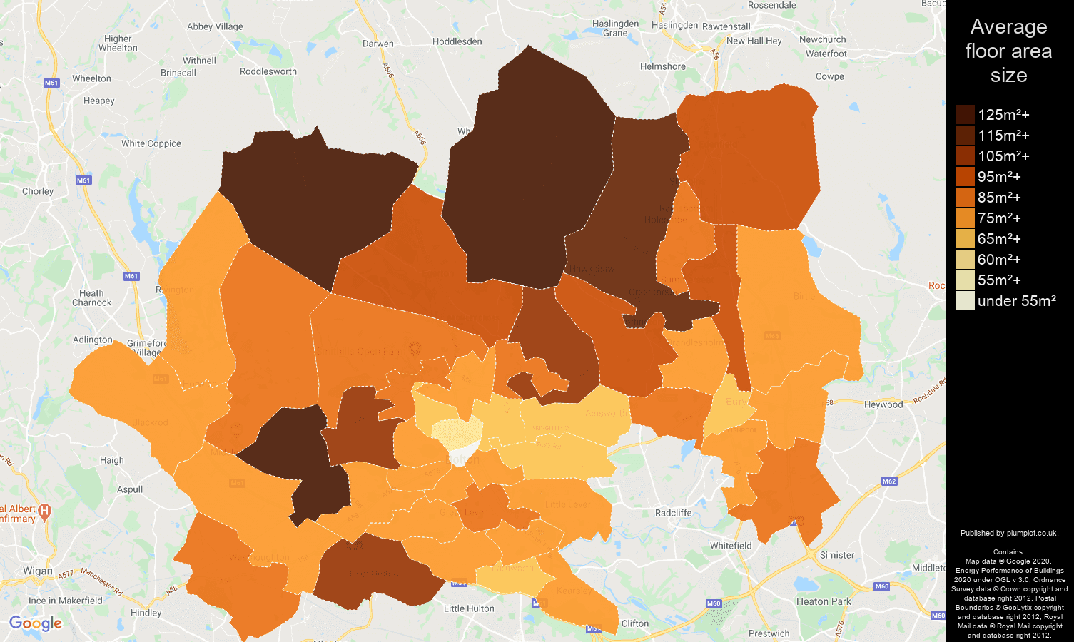 Bolton map of average floor area size of properties