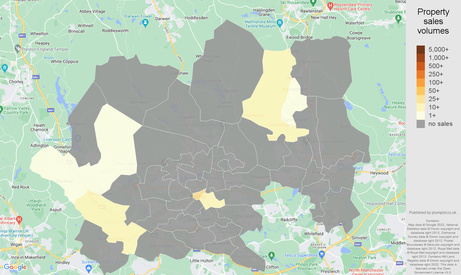 Bolton map of sales of new properties