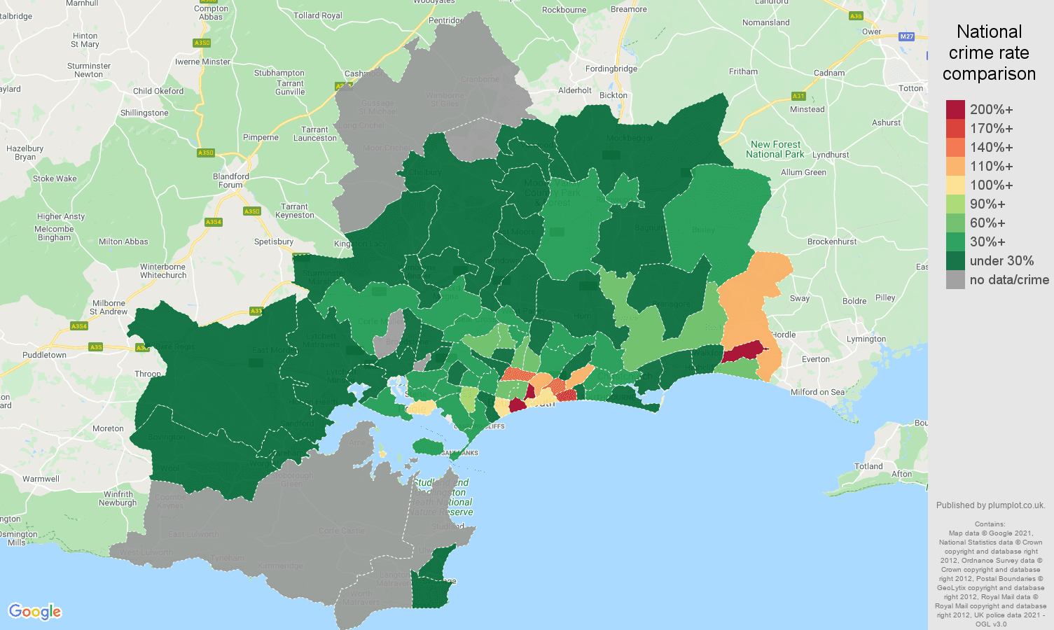 Bournemouth drugs crime rate comparison map