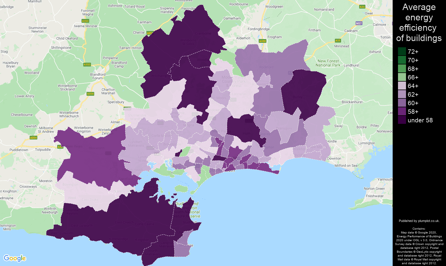 Bournemouth map of energy efficiency of houses