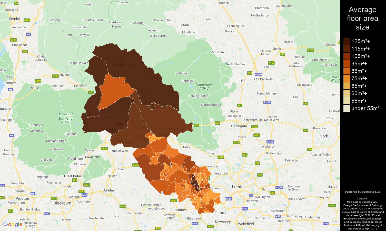 Bradford map of average floor area size of houses