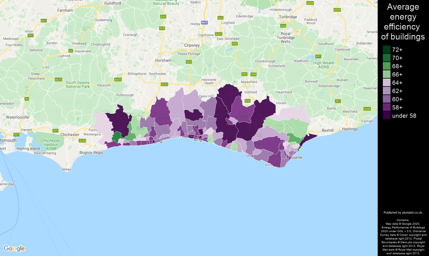 Brighton map of energy efficiency of houses