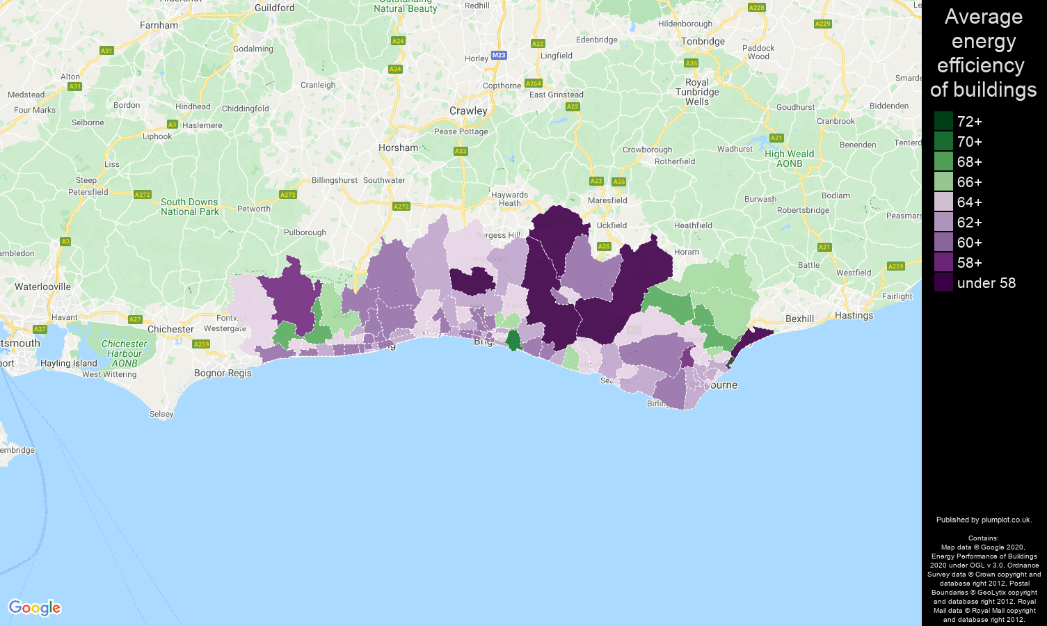Brighton map of energy efficiency of properties