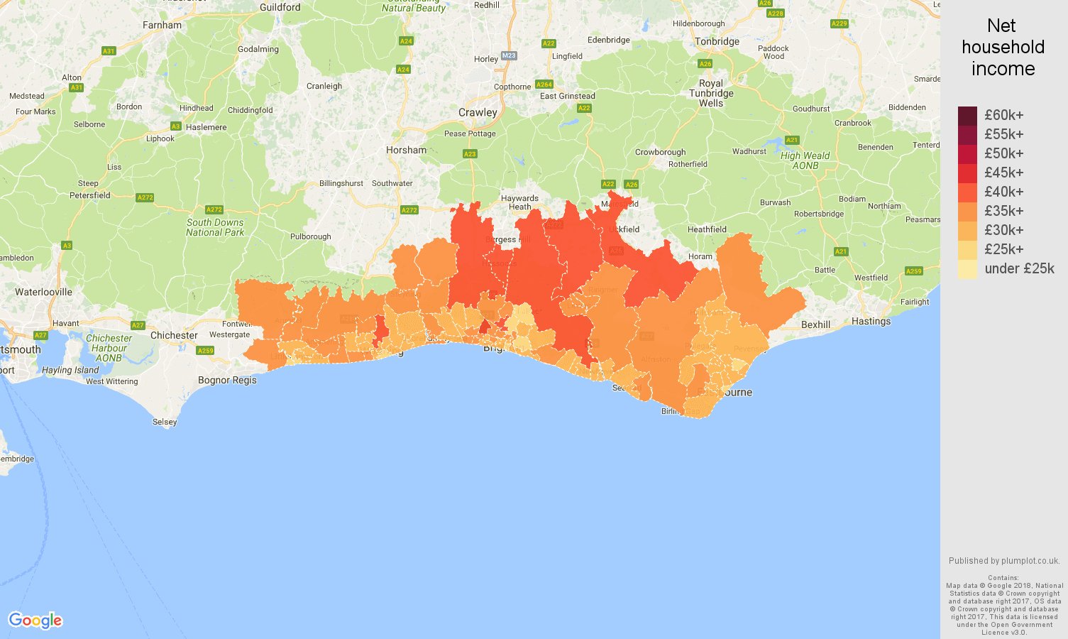 Brighton net household income map