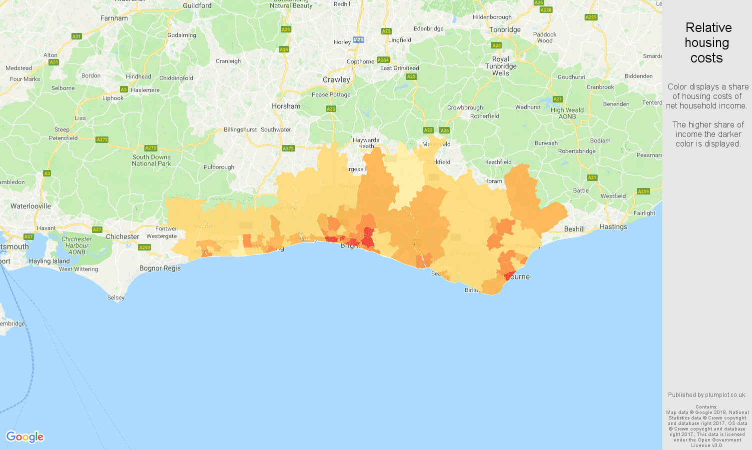 Brighton relative housing costs map