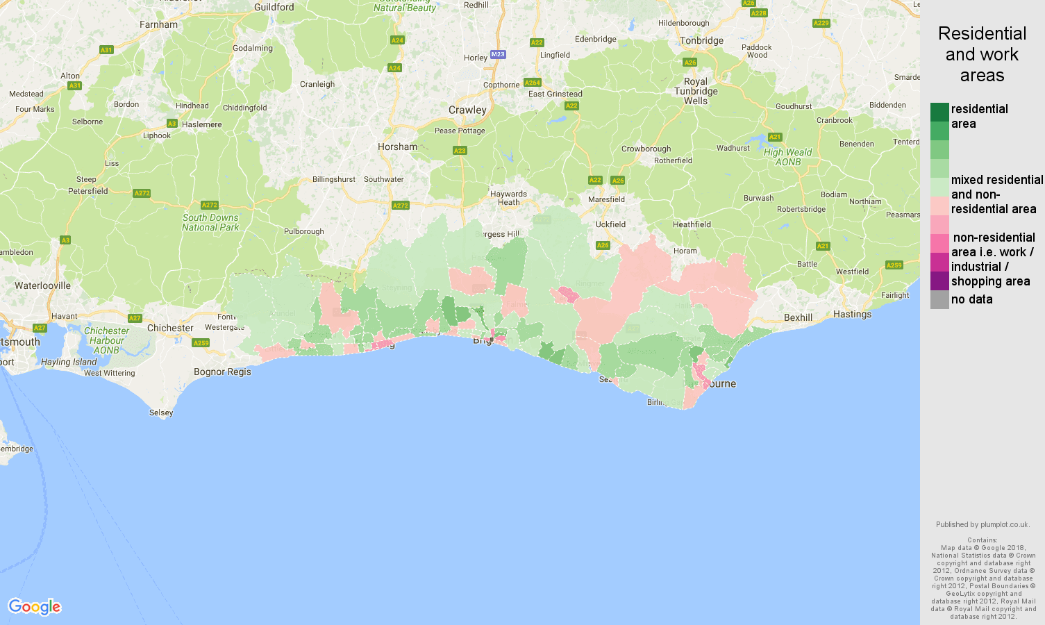 Brighton residential areas map
