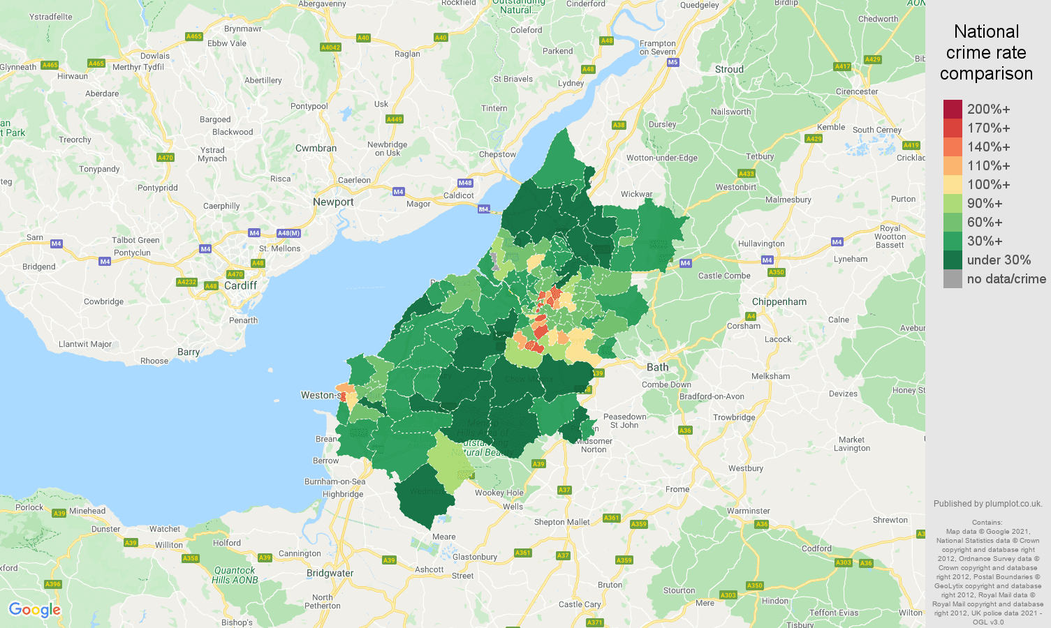 Bristol antisocial behaviour crime rate comparison map