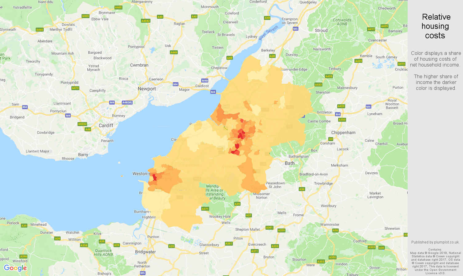 Bristol relative housing costs map