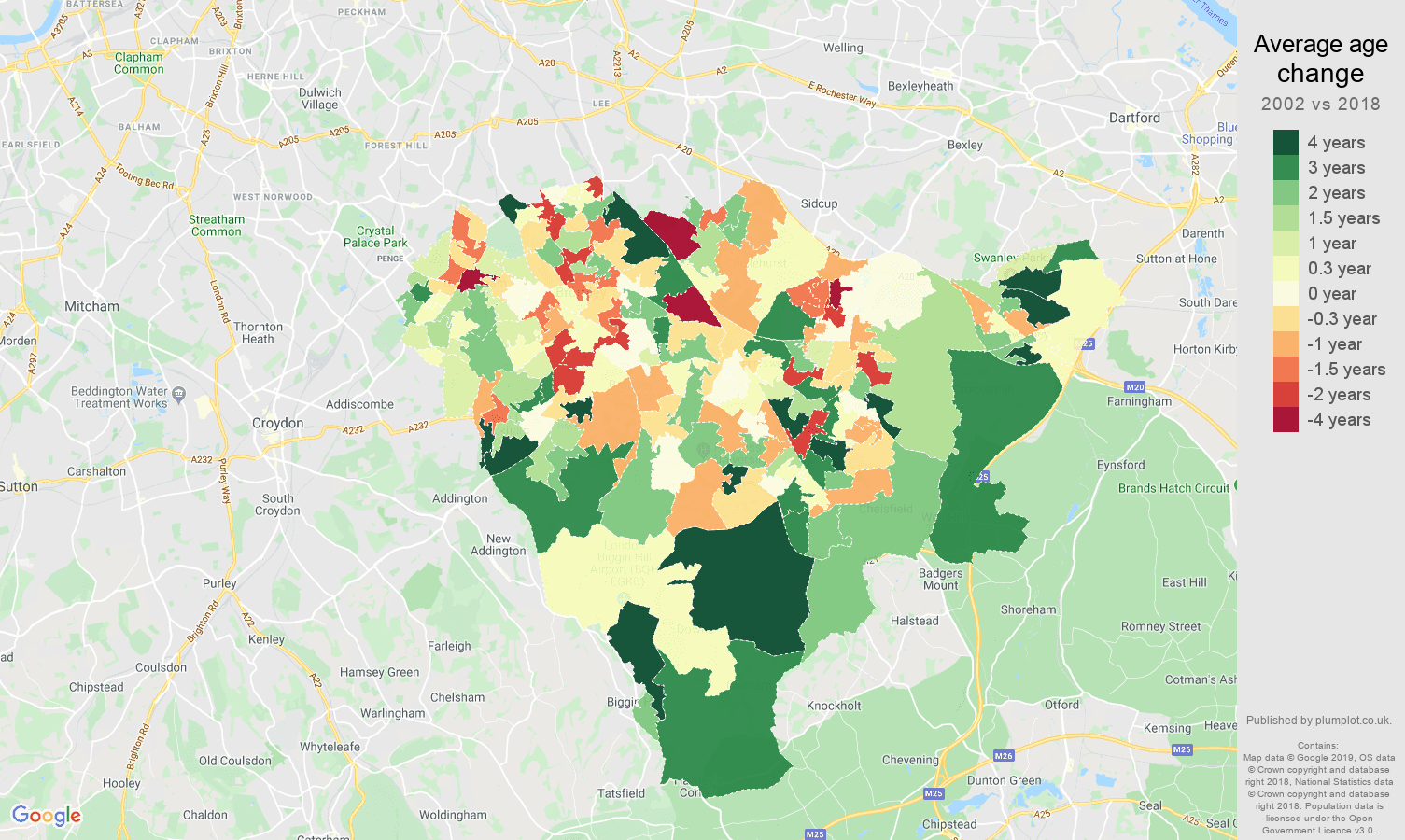 Bromley average age change map