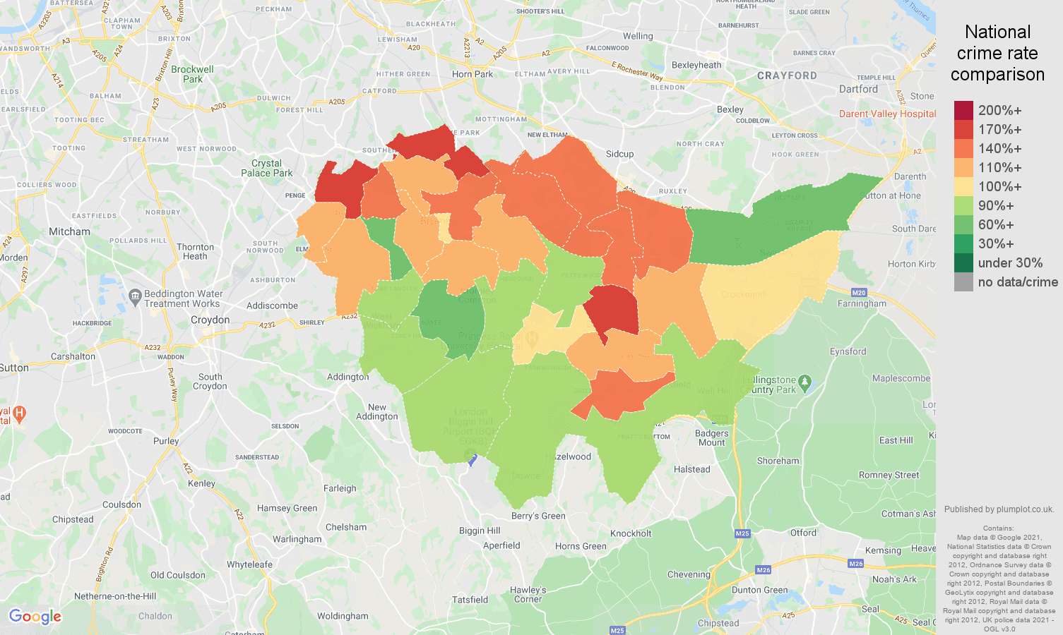 Bromley burglary crime rate comparison map