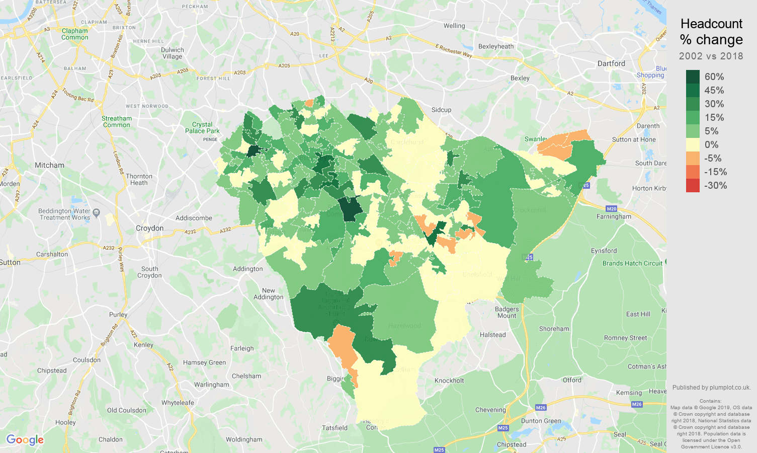 Bromley headcount change map