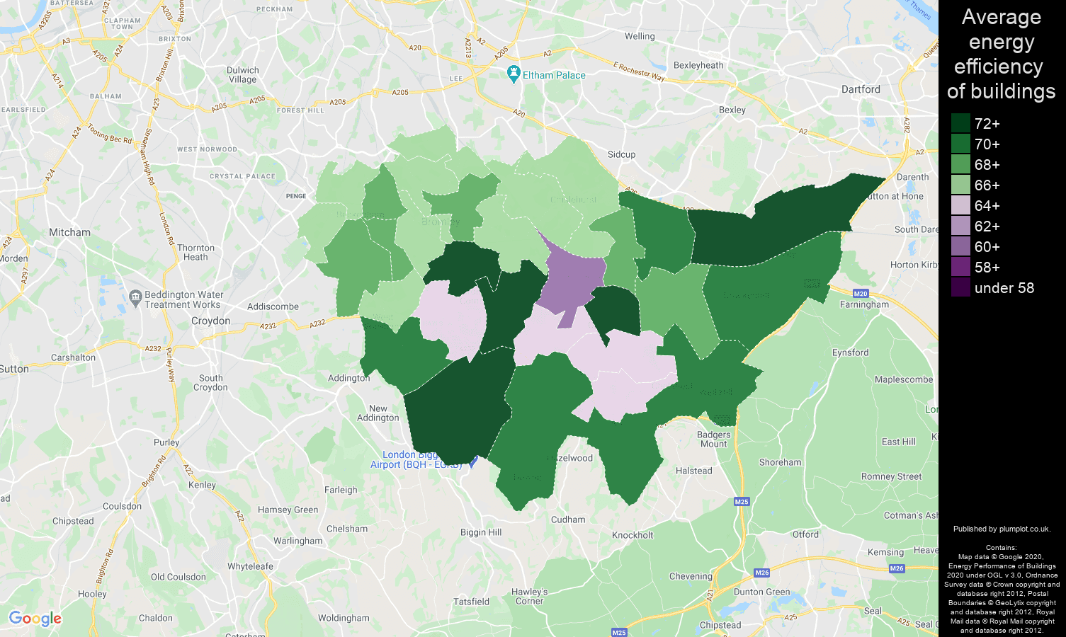 Bromley map of energy efficiency of flats