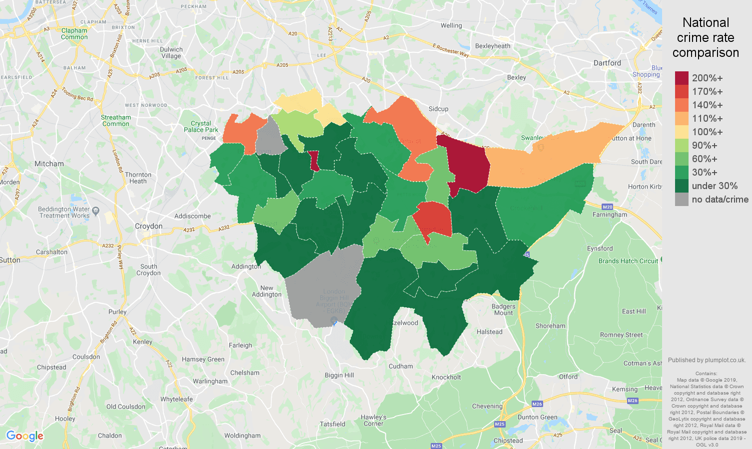Bromley shoplifting crime rate comparison map